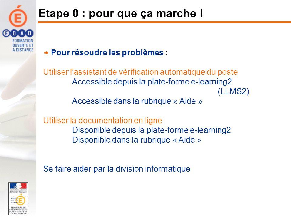 Pour résoudre les problèmes : Utiliser lassistant de vérification automatique du poste Accessible depuis la plate-forme e-learning2 (LLMS2) Accessible