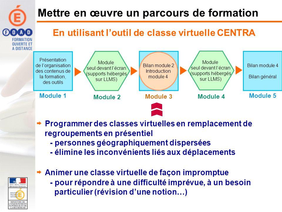 En utilisant loutil de classe virtuelle CENTRA Présentation de lorganisation des contenus de la formation, des outils Module 1 Module seul devant lécr