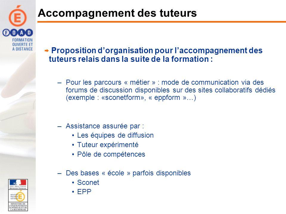 Proposition dorganisation pour laccompagnement des tuteurs relais dans la suite de la formation : –Pour les parcours « métier » : mode de communicatio