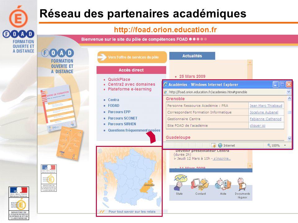 Réseau des partenaires académiques http://foad.orion.education.fr