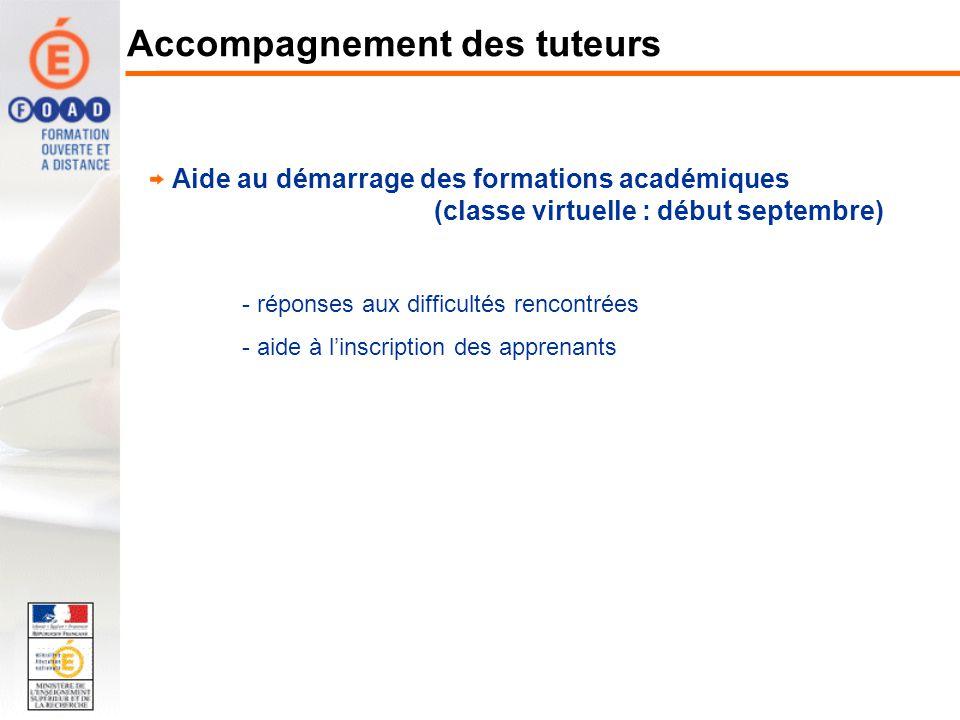 Aide au démarrage des formations académiques (classe virtuelle : début septembre) - réponses aux difficultés rencontrées - aide à linscription des app