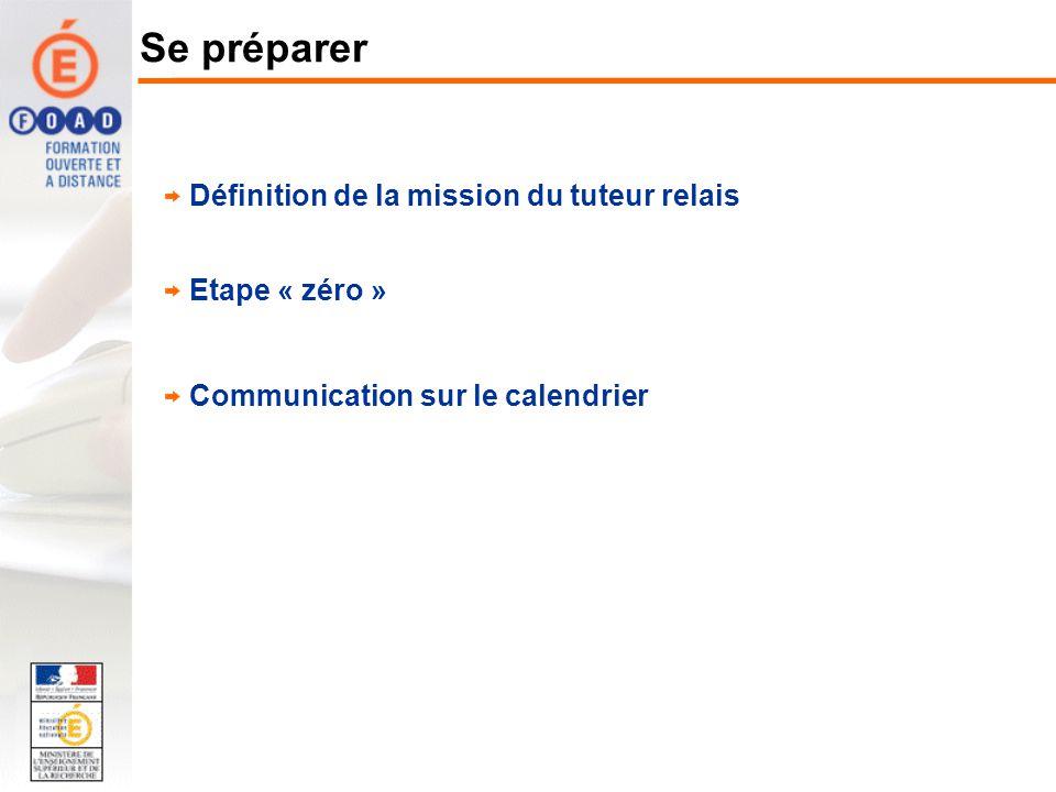 Définition de la mission du tuteur relais Etape « zéro » Communication sur le calendrier Se préparer
