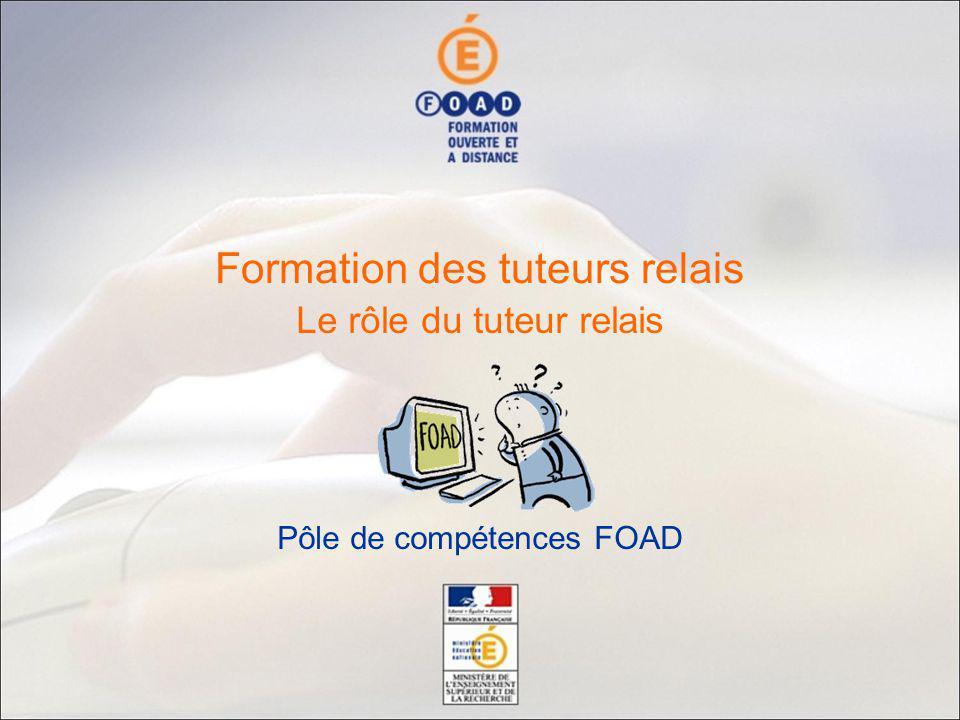 Le rôle du tuteur relais Pôle de compétences FOAD Formation des tuteurs relais