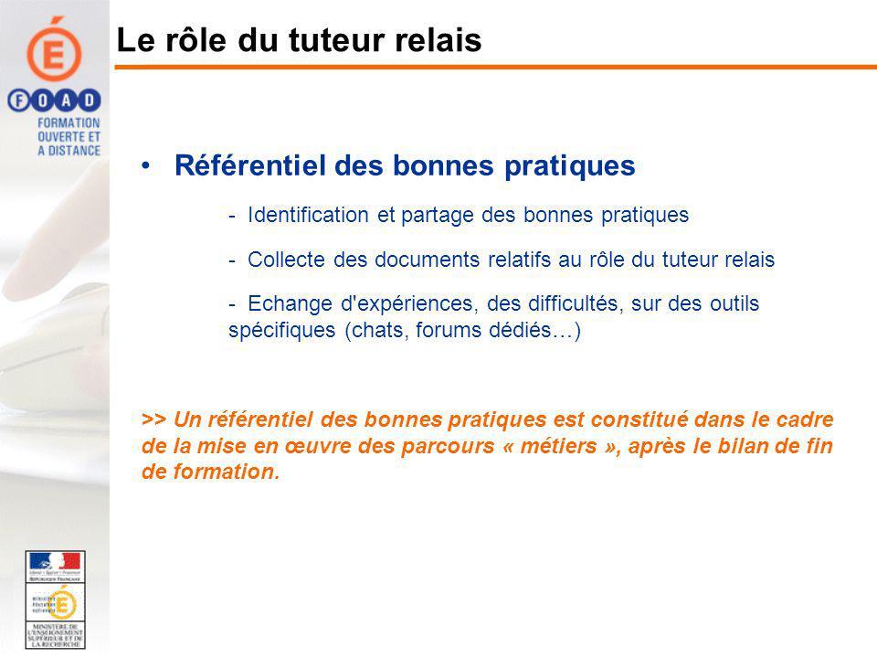 Référentiel des bonnes pratiques - Identification et partage des bonnes pratiques - Collecte des documents relatifs au rôle du tuteur relais - Echange