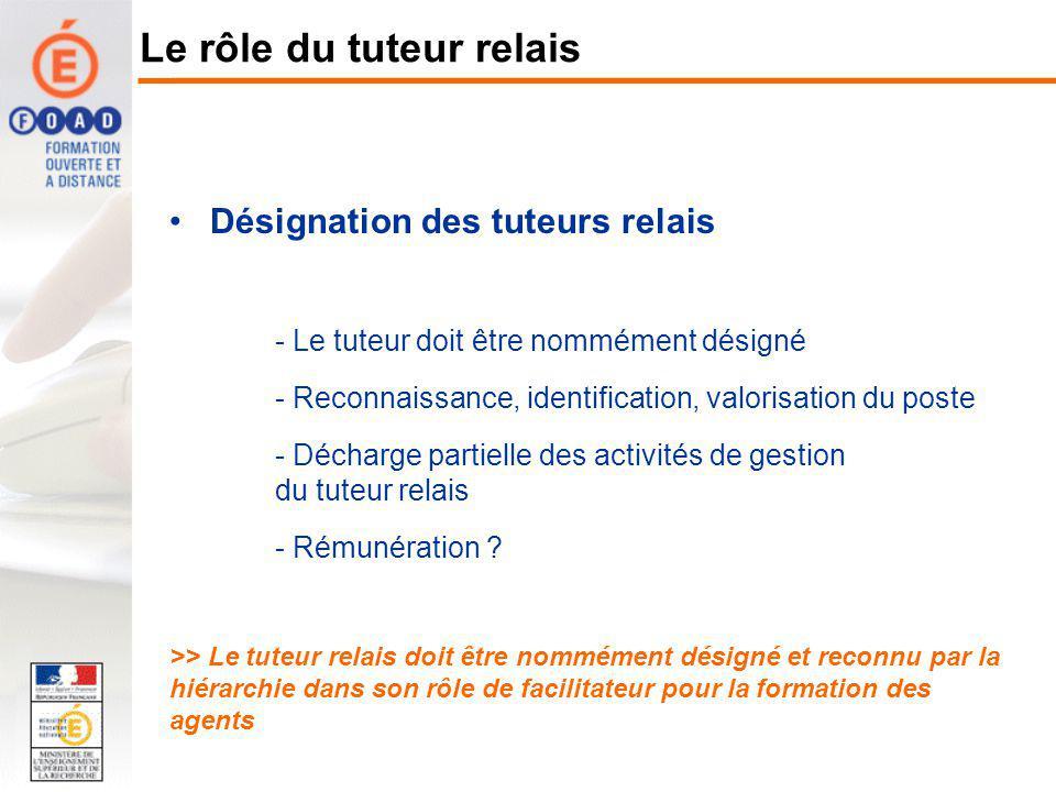 Désignation des tuteurs relais - Le tuteur doit être nommément désigné - Reconnaissance, identification, valorisation du poste - Décharge partielle de