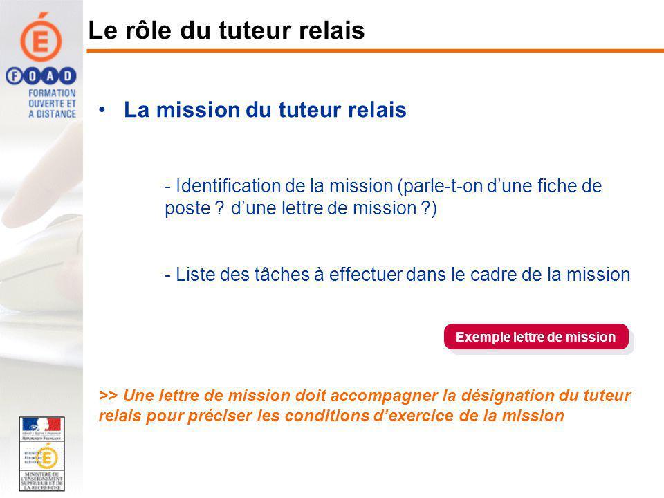 La mission du tuteur relais - Identification de la mission (parle-t-on dune fiche de poste ? dune lettre de mission ?) - Liste des tâches à effectuer