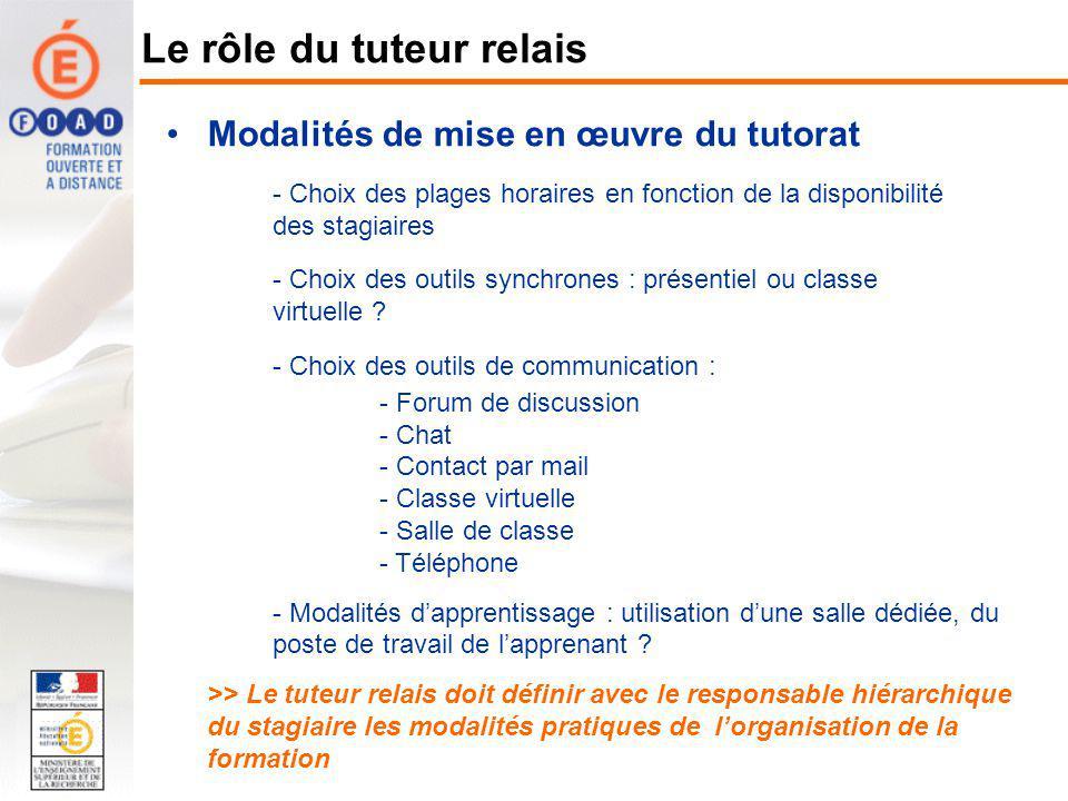Modalités de mise en œuvre du tutorat - Choix des plages horaires en fonction de la disponibilité des stagiaires - Choix des outils synchrones : prése