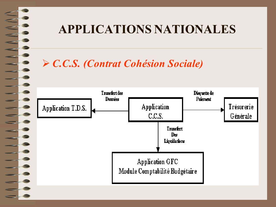 APPLICATIONS NATIONALES C.C.S. (Contrat Cohésion Sociale)