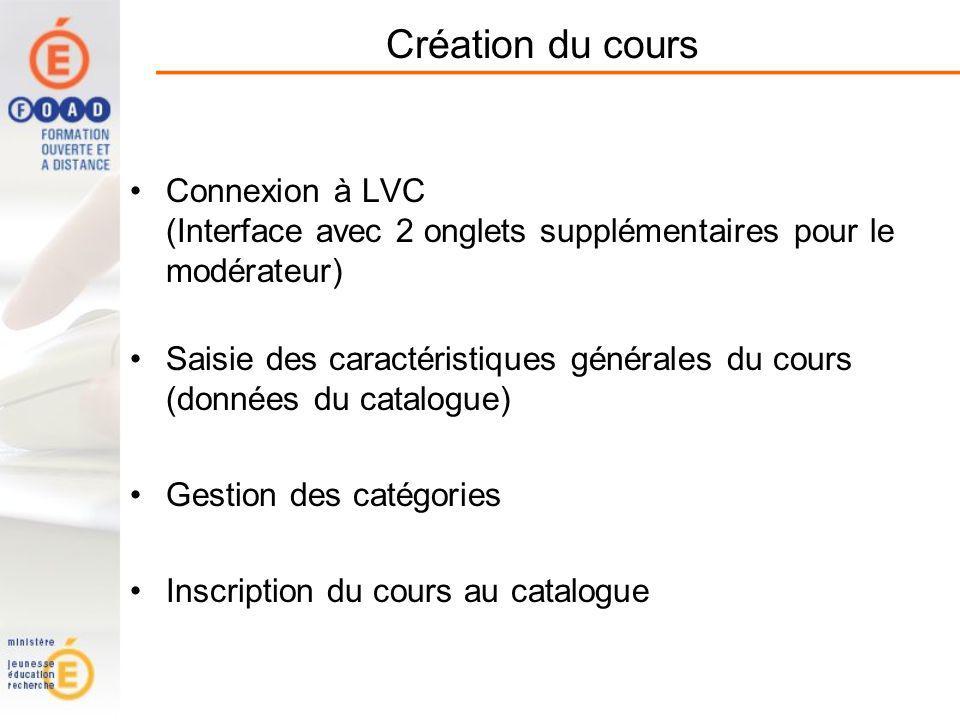 Création du cours Connexion à LVC (Interface avec 2 onglets supplémentaires pour le modérateur) Saisie des caractéristiques générales du cours (données du catalogue) Gestion des catégories Inscription du cours au catalogue