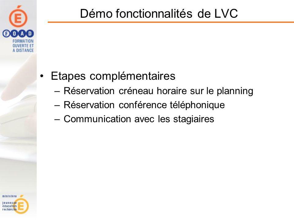 Démo fonctionnalités de LVC Etapes complémentaires –Réservation créneau horaire sur le planning –Réservation conférence téléphonique –Communication avec les stagiaires