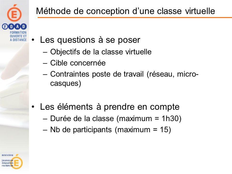 Méthode de conception dune classe virtuelle Les questions à se poser –Objectifs de la classe virtuelle –Cible concernée –Contraintes poste de travail (réseau, micro- casques) Les éléments à prendre en compte –Durée de la classe (maximum = 1h30) –Nb de participants (maximum = 15)