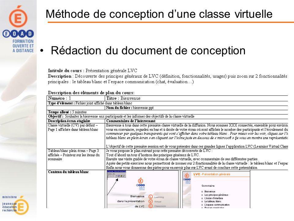 Méthode de conception dune classe virtuelle Rédaction du document de conception