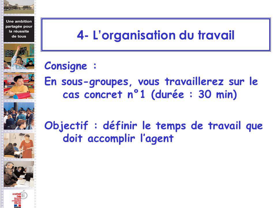 Consigne : En sous-groupes, vous travaillerez sur le cas concret n°1 (durée : 30 min) Objectif : définir le temps de travail que doit accomplir lagent