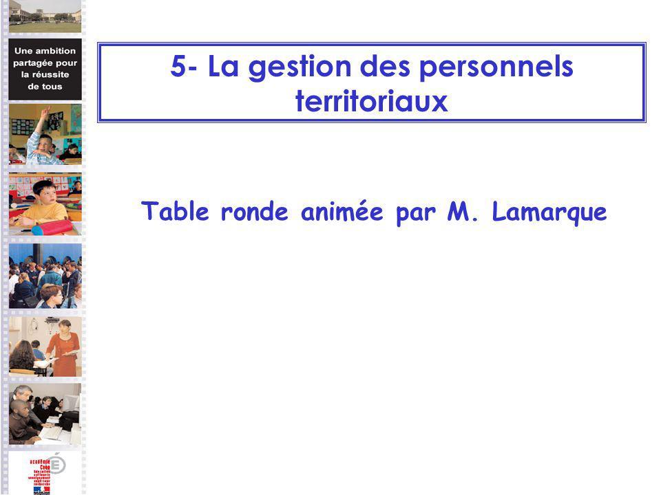 Table ronde animée par M. Lamarque 5- La gestion des personnels territoriaux