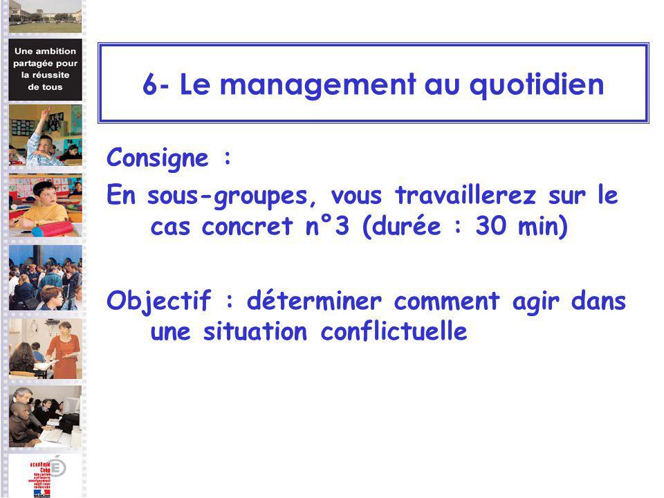 Consigne : En sous-groupes, vous travaillerez sur le cas concret n°3 (durée : 30 min) Objectif : déterminer comment agir dans une situation conflictue