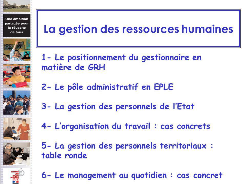 1- Le positionnement du gestionnaire en matière de GRH 2- Le pôle administratif en EPLE 3- La gestion des personnels de lEtat 4- Lorganisation du trav