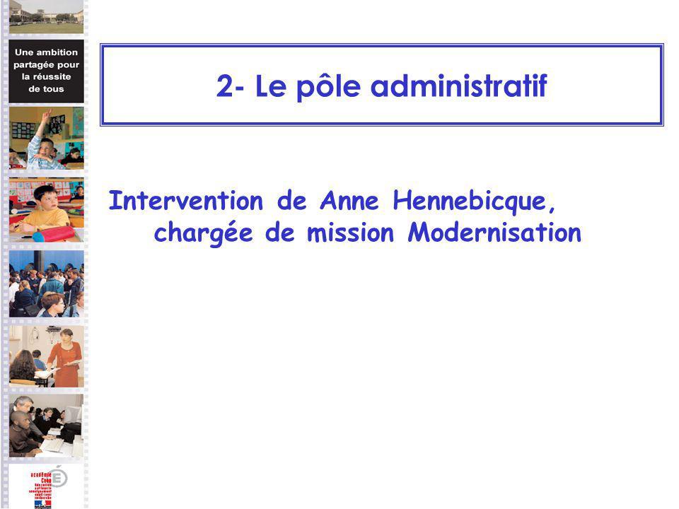 Intervention de Anne Hennebicque, chargée de mission Modernisation 2- Le pôle administratif