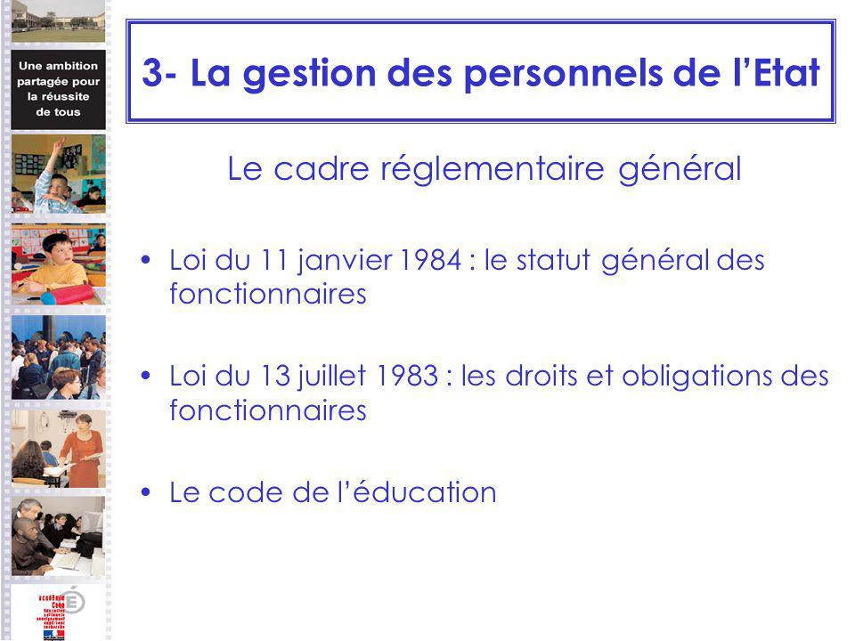 3- La gestion des personnels de lEtat Le cadre réglementaire général Loi du 11 janvier 1984 : le statut général des fonctionnaires Loi du 13 juillet 1