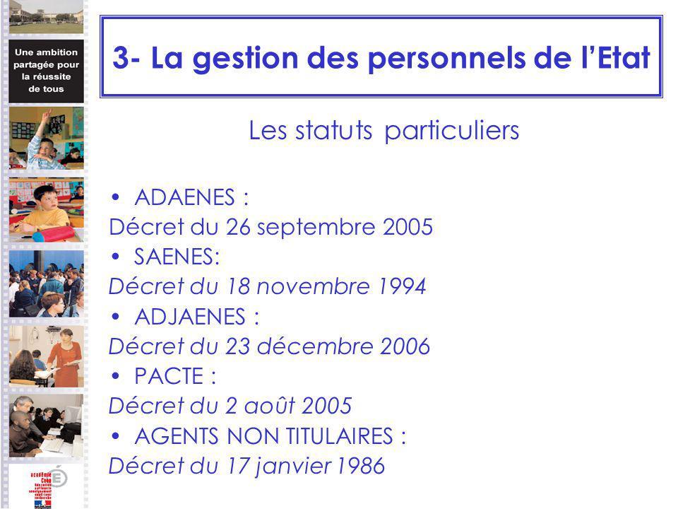3- La gestion des personnels de lEtat Les statuts particuliers ADAENES : Décret du 26 septembre 2005 SAENES: Décret du 18 novembre 1994 ADJAENES : Déc