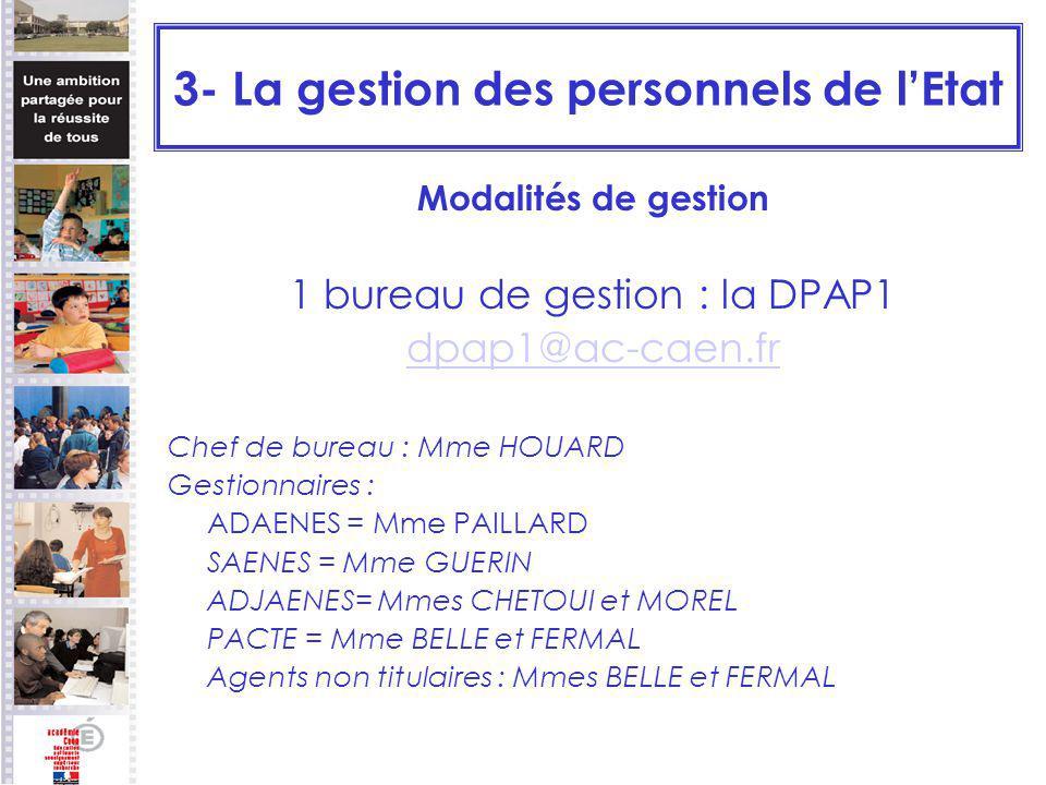 3- La gestion des personnels de lEtat Modalités de gestion 1 bureau de gestion : la DPAP1 dpap1@ac-caen.fr Chef de bureau : Mme HOUARD Gestionnaires :