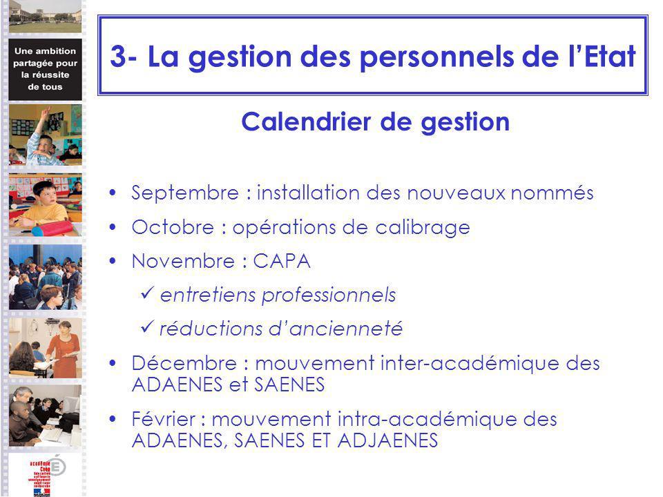 3- La gestion des personnels de lEtat Calendrier de gestion Septembre : installation des nouveaux nommés Octobre : opérations de calibrage Novembre :
