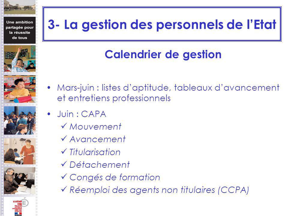 3- La gestion des personnels de lEtat Calendrier de gestion Mars-juin : listes daptitude, tableaux davancement et entretiens professionnels Juin : CAP