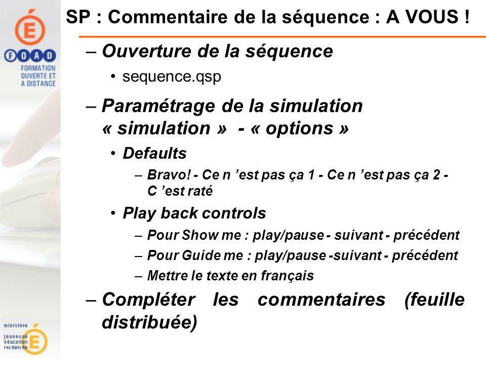 SP : Commentaire de la séquence : A VOUS ! –Ouverture de la séquence sequence.qsp –Paramétrage de la simulation « simulation » - « options » Defaults