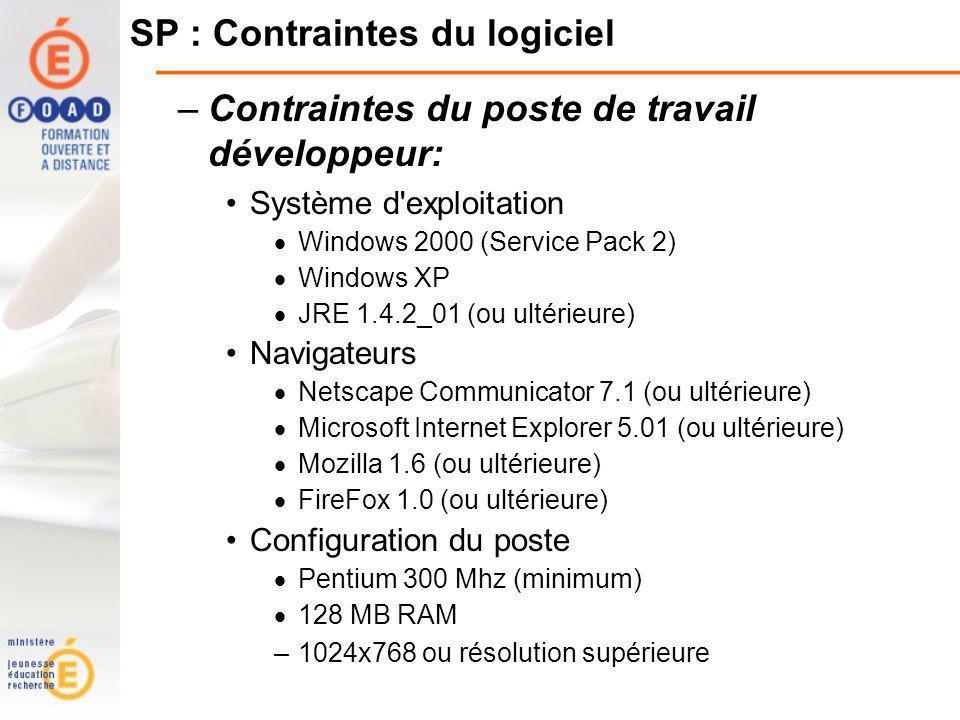 SP : Contraintes du logiciel –Contraintes du poste de travail développeur: Système d exploitation Windows 2000 (Service Pack 2) Windows XP JRE 1.4.2_01 (ou ultérieure) Navigateurs Netscape Communicator 7.1 (ou ultérieure) Microsoft Internet Explorer 5.01 (ou ultérieure) Mozilla 1.6 (ou ultérieure) FireFox 1.0 (ou ultérieure) Configuration du poste Pentium 300 Mhz (minimum) 128 MB RAM –1024x768 ou résolution supérieure