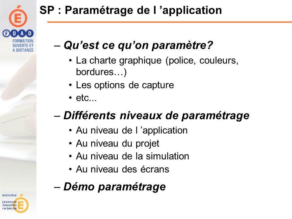 SP : Paramétrage de l application –Quest ce quon paramètre.