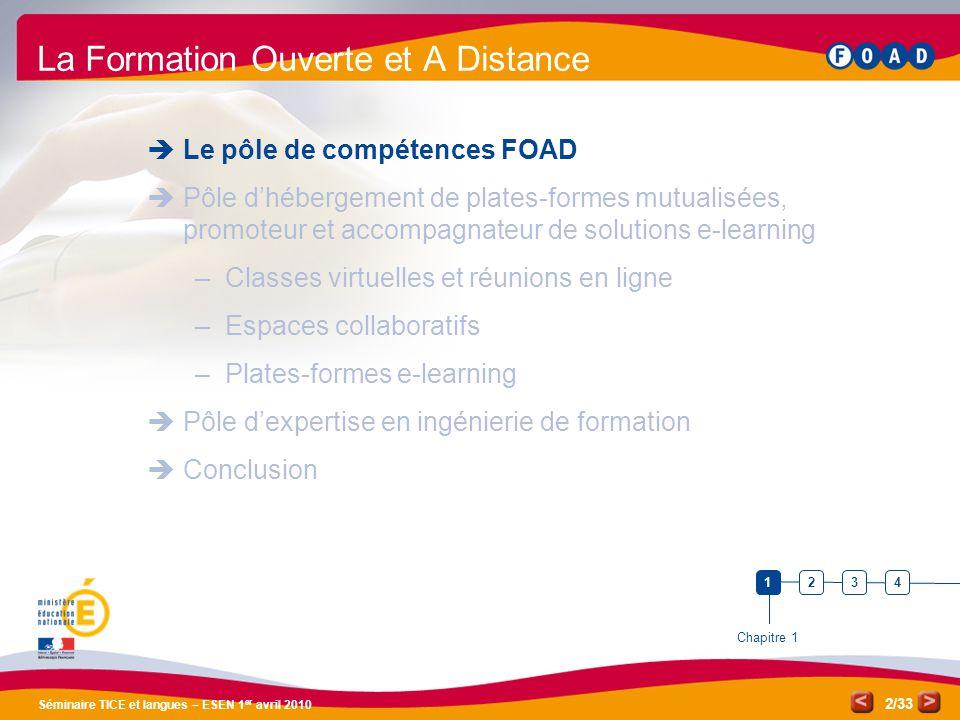 /33 Séminaire TICE et langues – ESEN 1 er avril 2010 2 La Formation Ouverte et A Distance Le pôle de compétences FOAD Pôle dhébergement de plates-form