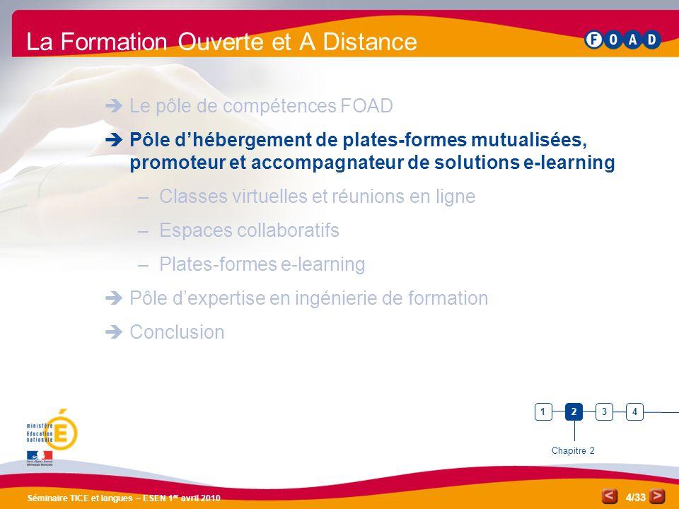 /33 Séminaire TICE et langues – ESEN 1 er avril 2010 4 La Formation Ouverte et A Distance Le pôle de compétences FOAD Pôle dhébergement de plates-form