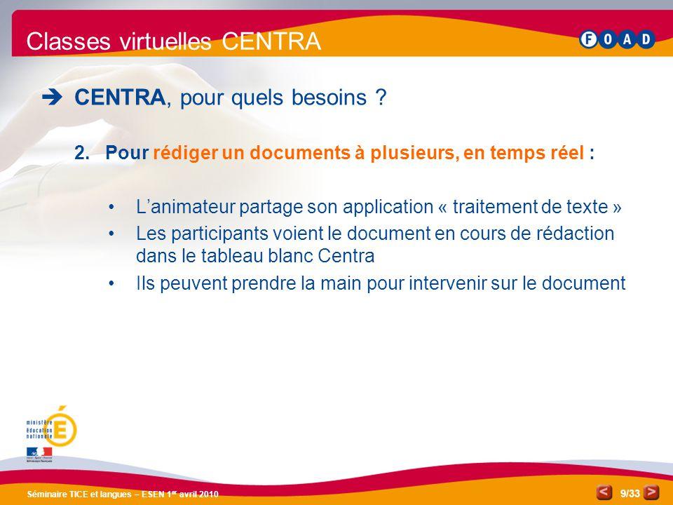/33 Séminaire TICE et langues – ESEN 1 er avril 2010 9 Classes virtuelles CENTRA CENTRA, pour quels besoins ? 2.Pour rédiger un documents à plusieurs,