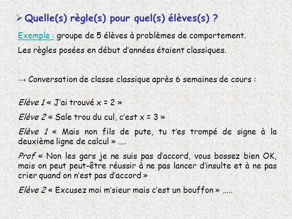 Quelle(s) règle(s) pour quel(s) élèves(s) ? Exemple : groupe de 5 élèves à problèmes de comportement. Les règles posées en début dannées étaient class
