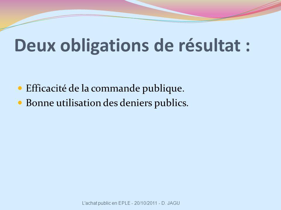 Deux obligations de résultat : Efficacité de la commande publique. Bonne utilisation des deniers publics. L'achat public en EPLE - 20/10/2011 - D. JAG