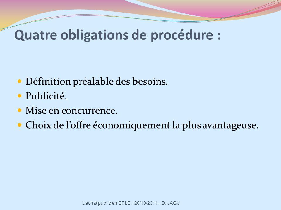 Quatre obligations de procédure : Définition préalable des besoins. Publicité. Mise en concurrence. Choix de loffre économiquement la plus avantageuse