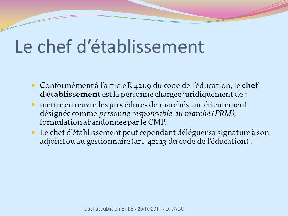 Conformément à larticle R 421.9 du code de léducation, le chef détablissement est la personne chargée juridiquement de : mettre en œuvre les procédure