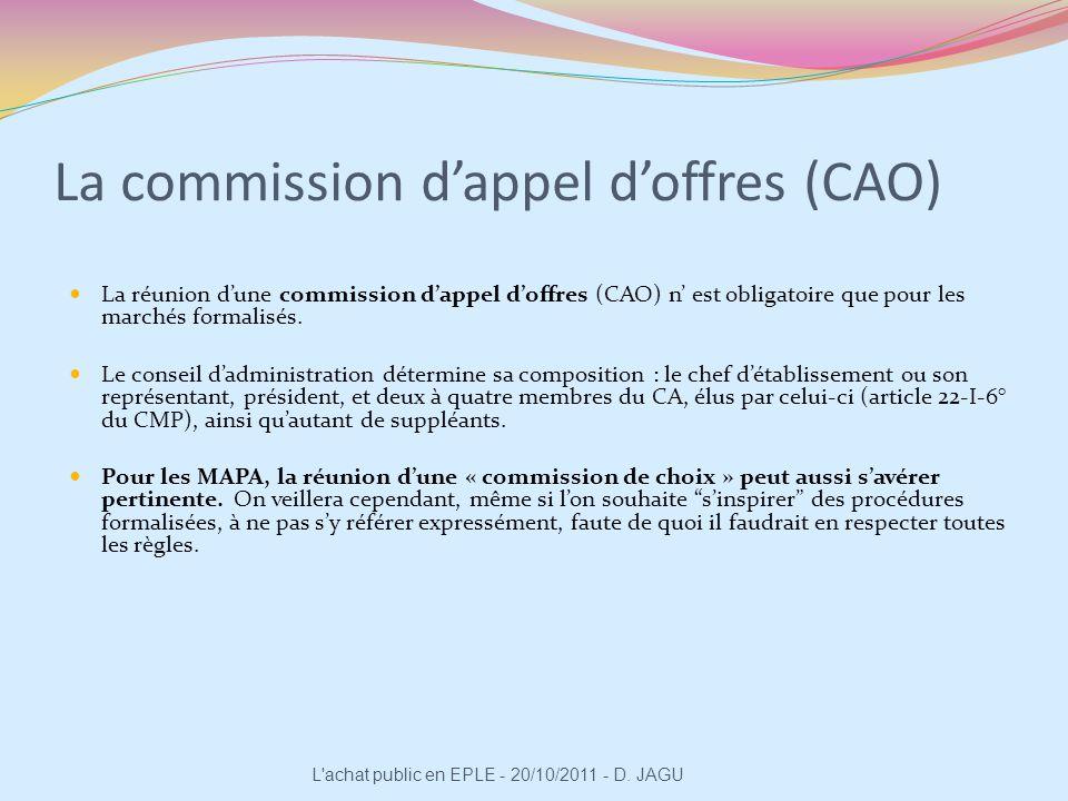 La réunion dune commission dappel doffres (CAO) n est obligatoire que pour les marchés formalisés. Le conseil dadministration détermine sa composition