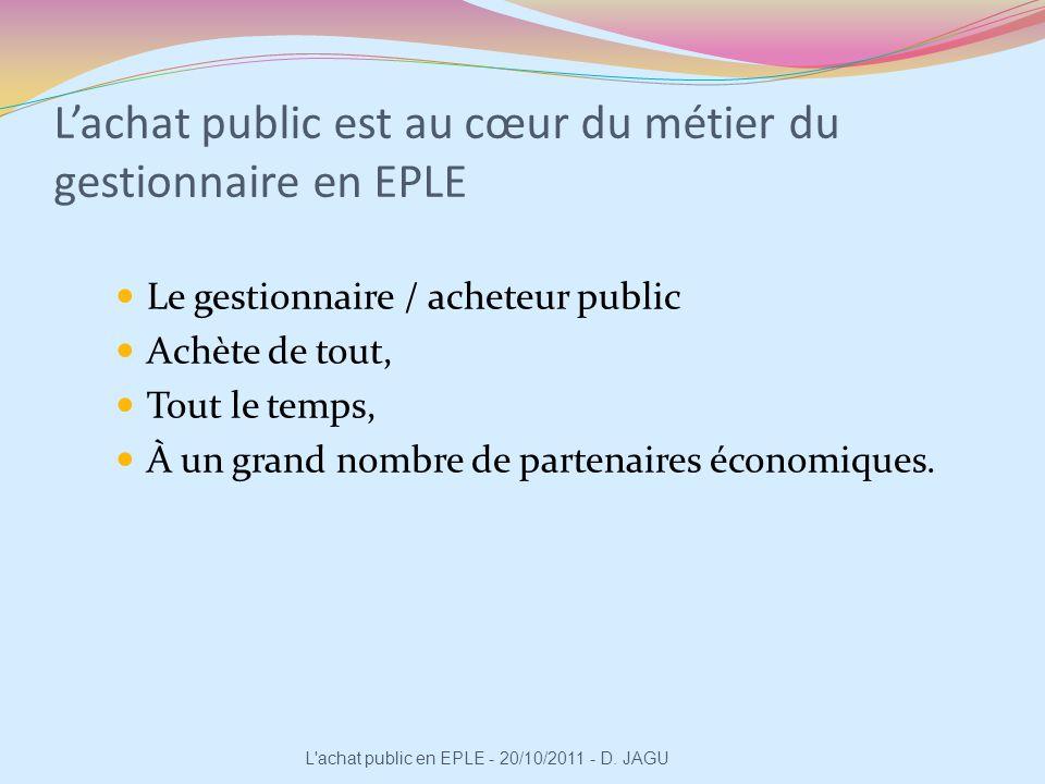 Lachat public est au cœur du métier du gestionnaire en EPLE Le gestionnaire / acheteur public Achète de tout, Tout le temps, À un grand nombre de part