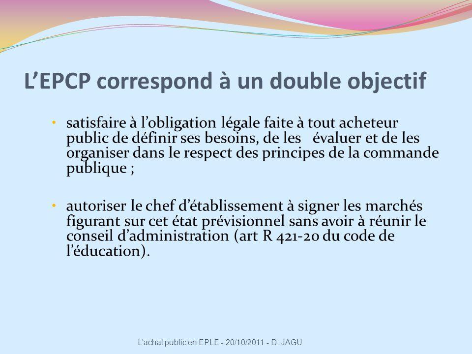 LEPCP correspond à un double objectif satisfaire à lobligation légale faite à tout acheteur public de définir ses besoins, de les évaluer et de les or