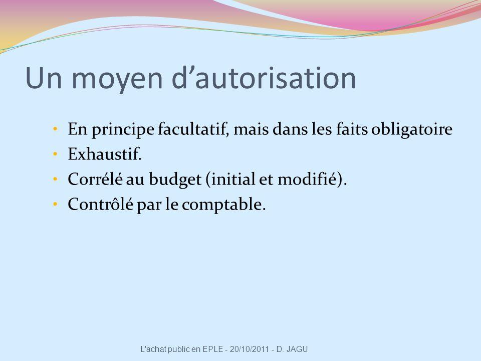 Un moyen dautorisation En principe facultatif, mais dans les faits obligatoire Exhaustif. Corrélé au budget (initial et modifié). Contrôlé par le comp