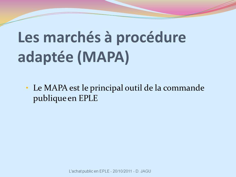 Les marchés à procédure adaptée (MAPA) Le MAPA est le principal outil de la commande publique en EPLE L'achat public en EPLE - 20/10/2011 - D. JAGU