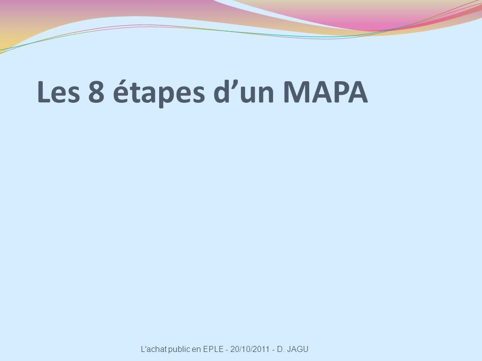 Les 8 étapes dun MAPA L'achat public en EPLE - 20/10/2011 - D. JAGU