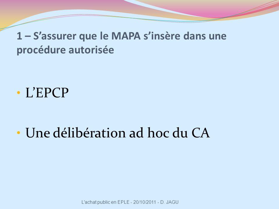 1 – Sassurer que le MAPA sinsère dans une procédure autorisée LEPCP Une délibération ad hoc du CA L'achat public en EPLE - 20/10/2011 - D. JAGU