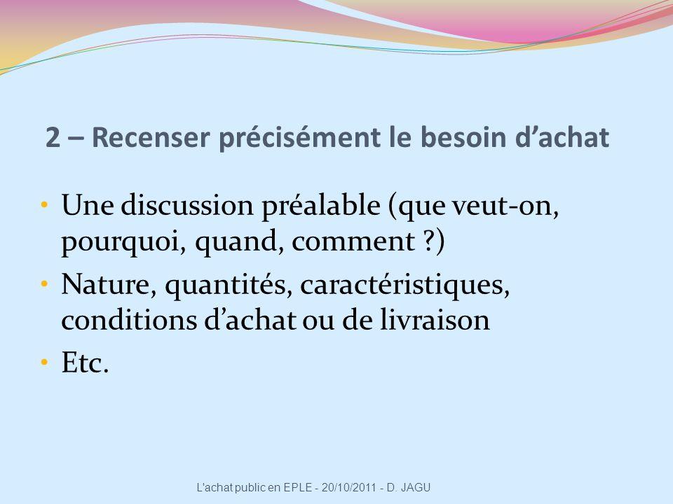2 – Recenser précisément le besoin dachat Une discussion préalable (que veut-on, pourquoi, quand, comment ?) Nature, quantités, caractéristiques, cond
