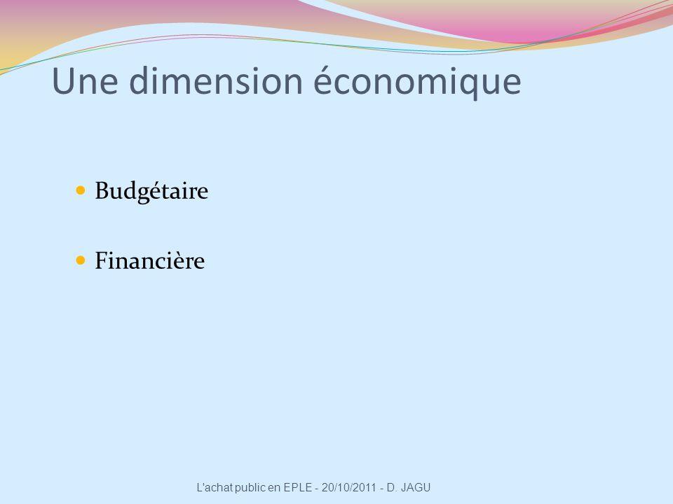 Une dimension relationnelle Interne à lEPLE (le chef détablissement, le CA, les enseignants, etc.) Externe à létablissement (les fournisseurs) L achat public en EPLE - 20/10/2011 - D.