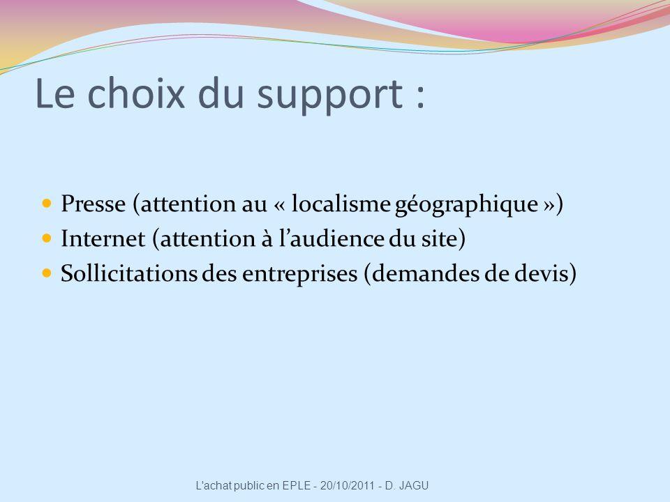 Le choix du support : Presse (attention au « localisme géographique ») Internet (attention à laudience du site) Sollicitations des entreprises (demand