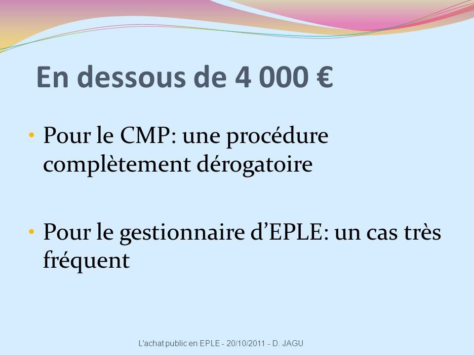 En dessous de 4 000 Pour le CMP: une procédure complètement dérogatoire Pour le gestionnaire dEPLE: un cas très fréquent L'achat public en EPLE - 20/1