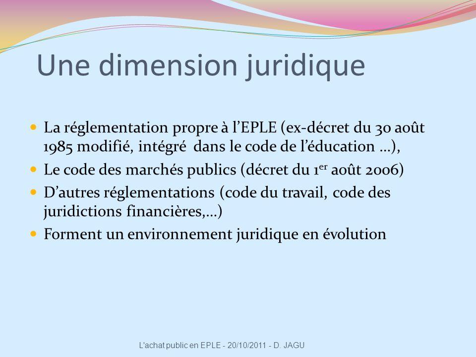 Une dimension juridique La réglementation propre à lEPLE (ex-décret du 30 août 1985 modifié, intégré dans le code de léducation …), Le code des marché