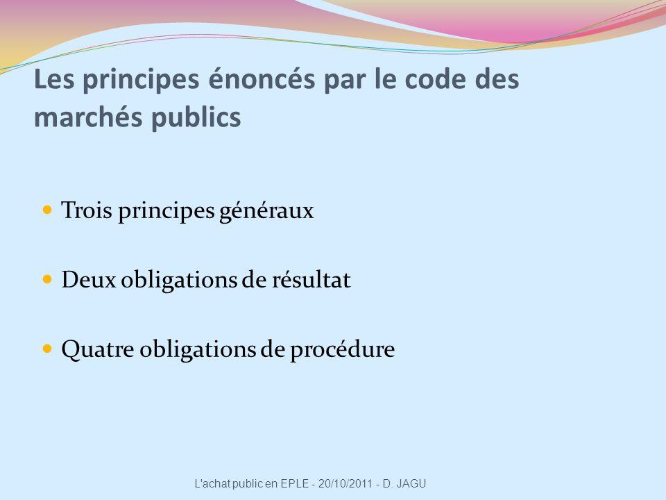Trois principes généraux : Liberté daccès à la commande publique Égalité de traitement des candidats Transparence des procédures L achat public en EPLE - 20/10/2011 - D.