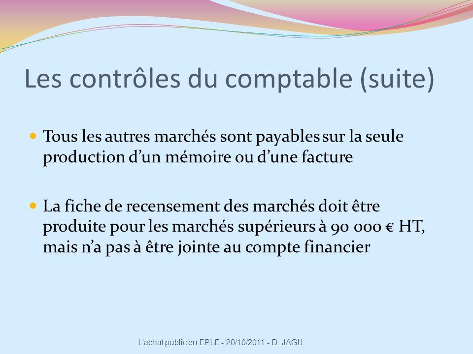 Les contrôles du comptable (suite) Tous les autres marchés sont payables sur la seule production dun mémoire ou dune facture La fiche de recensement d